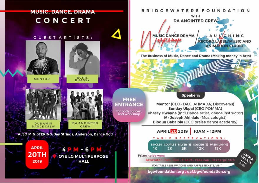 Art, dance, drama and music Workshop and launching of Music recording studio, Dance and Drama Concert.